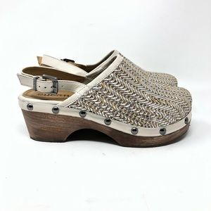 NEW Anthro Cubanas Lucky Slingback Woven Clogs